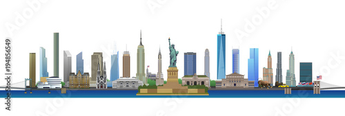 New York City skyline, vector - 194856549