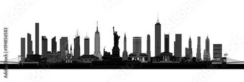 New York City skyline silhouette, vector - 194856583