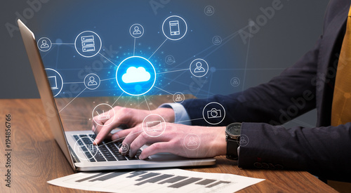 Hand typing with cloud technology system concept