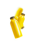Flying yellow smoothie or juice bottle , isolated on white background. Branding copy space - 194857388