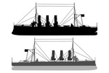 Silhouette  of a ship - vector illustration - black and white, Cruiser Aurora