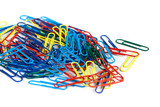 Bunch of colorful paper clips isolated on white background - 194858191