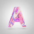 Glossy holographic pink letter A uppercase isolated on white background