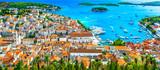 Hvar island panorama landscape. / Panorama of amazing coastal town Hvar in Croatia, popular mediterranean tourist resort in summertime, Europe.  - 194862978