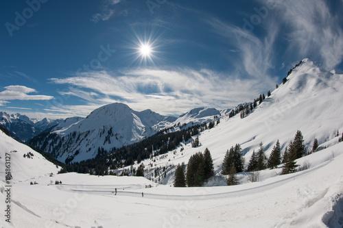 Fotobehang Nachtblauw Winter am Furkajoch, Vorarlberg