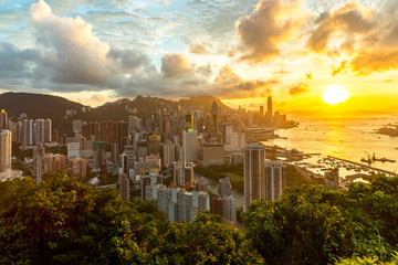 Hong Kong Sunset Aeriel View