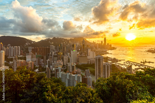 Hong Kong Sunset Aeriel View