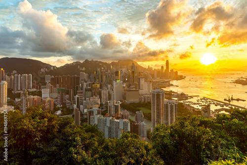 Fototapeta Hong Kong Sunset Aeriel View