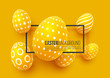 Abstract Easter yellow background. Decorative 3d eggs with frame. Vector illustration.