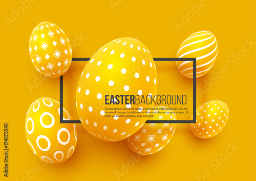 Abstract Easter yellow background. Decorative 3d eggs with frame. Vector illustration. © ludmila_m