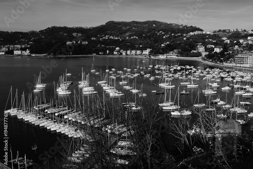 Fotobehang Liguria View of the port of Lerici from above