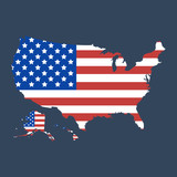 USA map flag. United States of America map icon. Vector illustration - 194884146