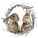 Watercolor Easter bunny with floral wreath. Hand painted rabbit with lavender, willow and tree branch isolated on white background. Holiday symbol illustration for design. - 194885137