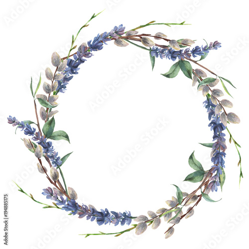 Watercolor spring wreath. Hand painted border with lavender, willow and tree branch with leaves isolated on white background. Easter floral illustration for design.