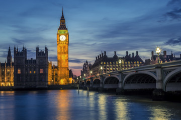 Westminster Bridge by night, London, UK