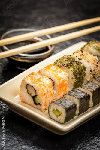 Aluminium Sushi bar Sushi rolls hosomaki and uramaki