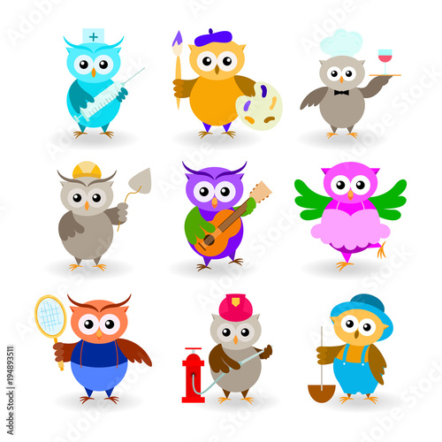Fotobehang Uilen cartoon Collection cartoon owls of different professions. Doctor, painter, waiter, builder, guitarist, ballerina, tennis player, fireman, farmer.