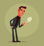Man office worker character exploring with magnifier. Vector flat cartoon illustration  - 194893770