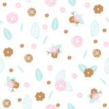Pastel floral seamless pattern. Vector hand drawn illustration. - 194895398