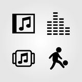 Multimedia icons set. Vector illustration man, compact disk, music player and sound bars
