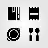 Kitchen vector icon set. towel, paella, beach towel and recipe - 194906134