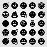 Emotions  Icon Set Devil Wistle Sad And Cool Wall Sticker