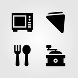 Kitchen vector icon set. coffee grinder, napkin, cutlery and microwave - 194907355