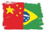 China Flag & Brazil Flag Vector Hand Painted with Rounded Brush - 194909540