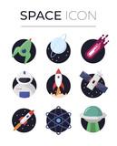 Space cosmos color icon set - 194909728