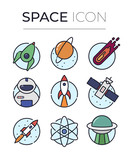 Space cosmos line and color icon set - 194909744