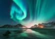 Leinwanddruck Bild - Aurora borealis in Lofoten islands, Norway. Aurora. Green northern lights. Starry sky with polar lights. Night winter landscape with aurora, sea with sky reflection, stones, beach and snowy mountains