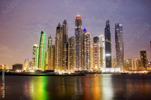 Tuinposter Dubai View of Dubai Marina in the night