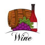 wine drink wooden barrel grapes and bottle vector illustration - 194917994