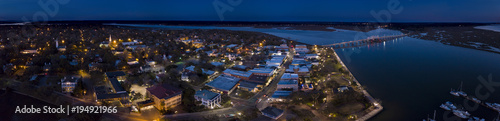 Aerial night panorama of small American town of Beaufort, South Carolina.