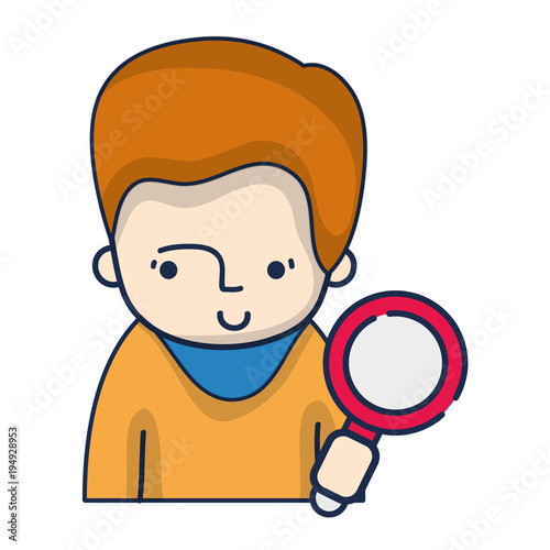 man with hairstyle and magnifying glass object