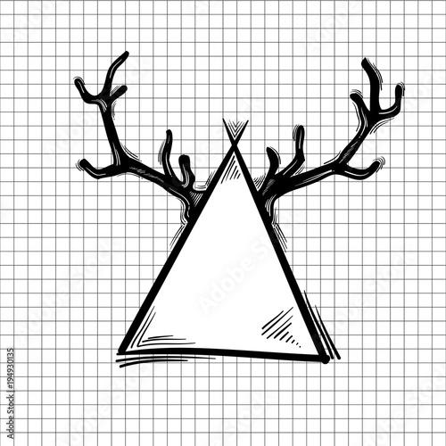 Plexiglas Hipster Hert Illustration of hipster icon