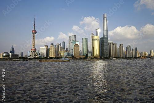 Fotobehang Shanghai The Oriental pearl tower, Shanghai world financial center jinmao tower and the Shanghai skyline