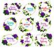 Flower blosoom frame icon of spring holiday design - 194933734