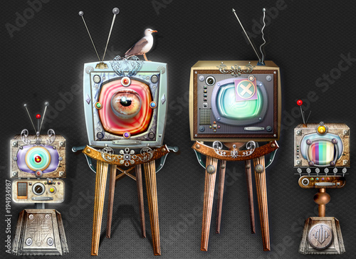 Fotobehang Imagination The big brother, steampunk and strange television