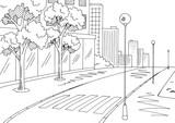 Street road graphic black white city landscape sketch illustration vector - 194935386