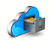 Cloud and filing cabinet on white background. Isolated 3D illustration