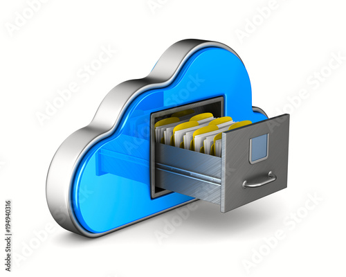 Fototapeta Cloud and filing cabinet on white background. Isolated 3D illustration