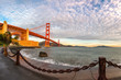 Famous Golden Gate Bridge at sunrise, San Francisco USA