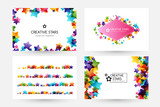 Creative kids vector cards with colorful stars - 194946345