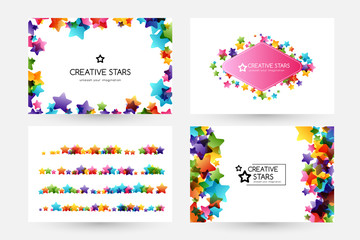 Creative kids vector cards with colorful stars