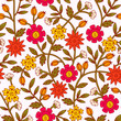 Seamless Colorful Floral Pattern  with Flowers and Leaves. Hand Drawn Vector Illustration. - 194949170