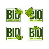 Bio Product Doodle Organic Leaves Emblems Stickers  Frames And Logo Wall Sticker