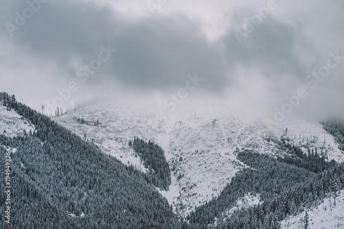 Aluminium Bleke violet Winter landscape, snowy mountains