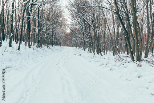 Winter road, winter driving concept.