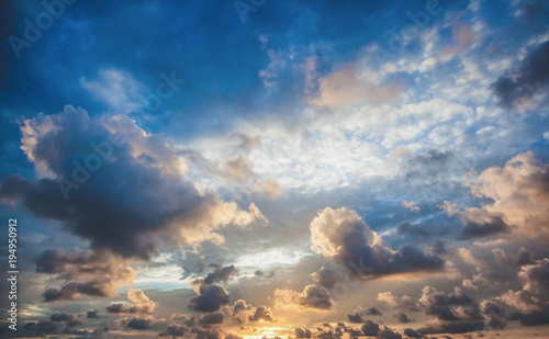 Bright beautiful sunset sky background